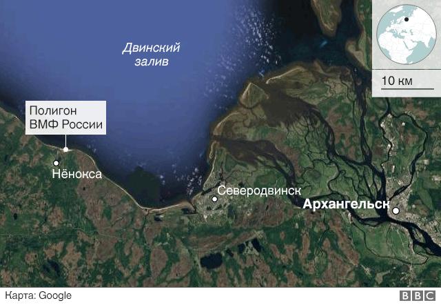 Гугул карта Двинского залива и полигона