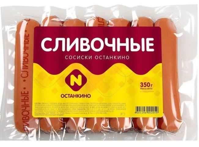 """""""Останкино"""" сливочные сосиски"""