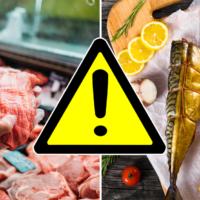 Запрещающий знак на мясе и рыбе