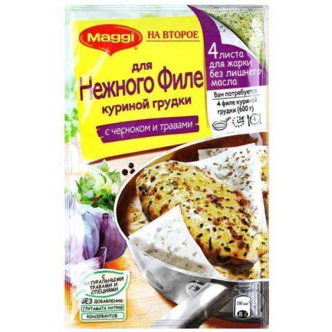 «Maggi На второе» Смесь на бумаге для жарки для приготовления нежной курицы с чесноком и травами