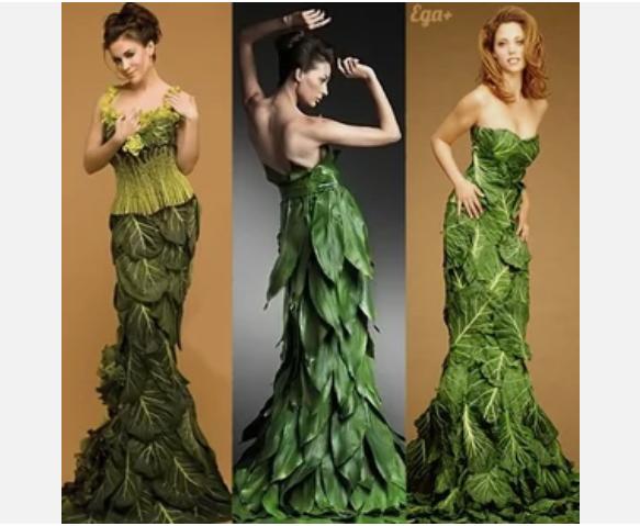 Платье из листьев зеленого салата
