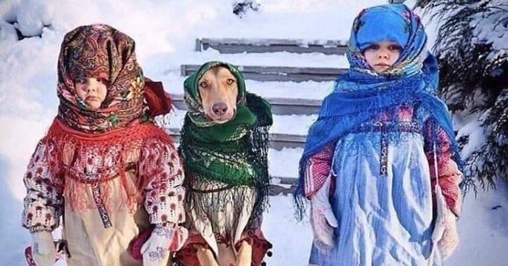 Маленькие колядовщики с собакой