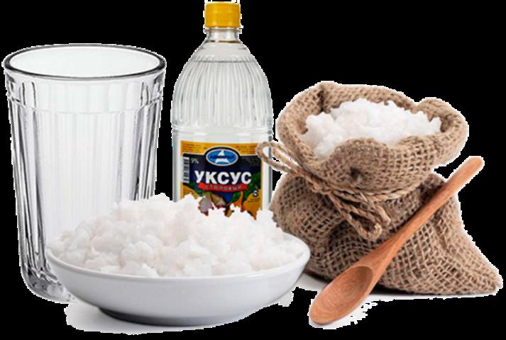 Уксус и соль от нагара на сковородках