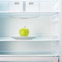 Пустой холодильник и яблоко