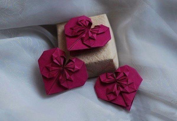 Валентинка в технике оригами