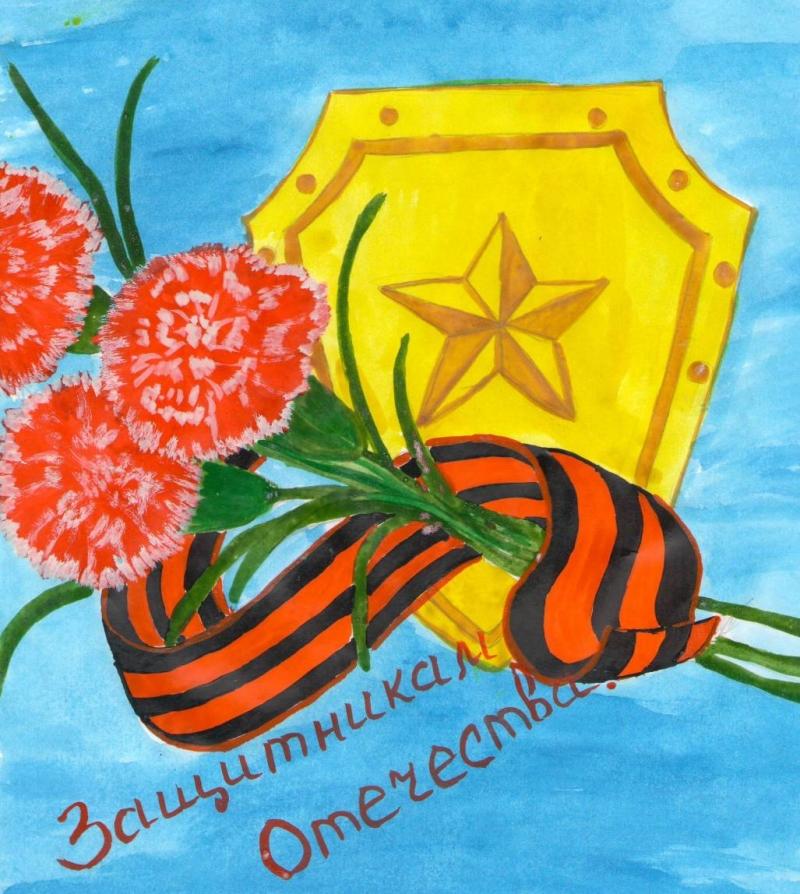 В подарок на 23 февраля ребенок может подготовить рисунок на военную тему