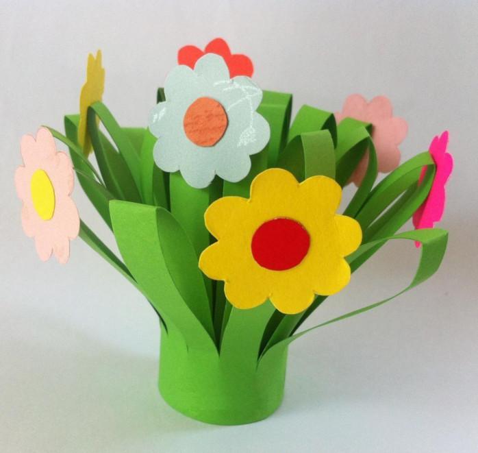 Объемный букет цветов из бумаги