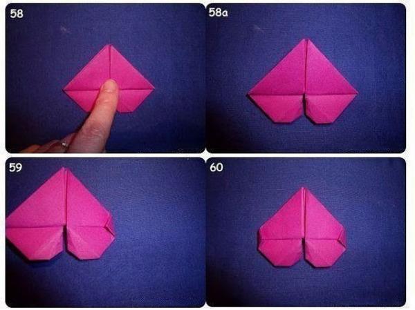 Этапы изготовления валентинки в технике оригами