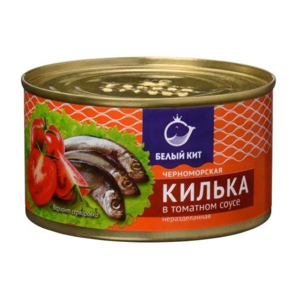 """Килька в томатном соусе """"Белый кит"""""""