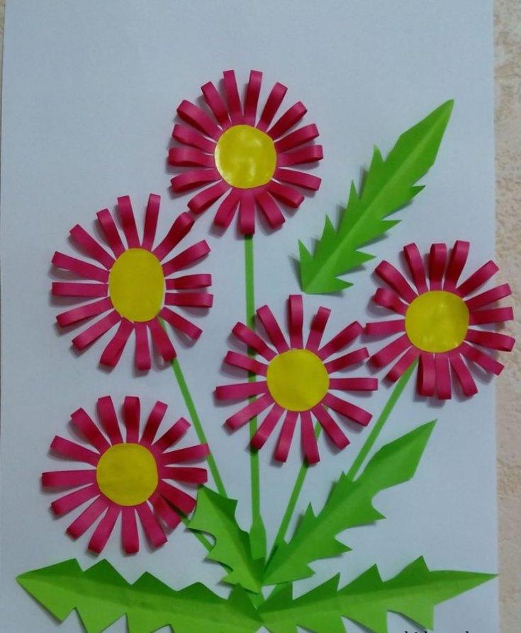 Объемная аппликация из цветов