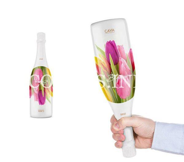 Бутылка вина с цветочным рисунком