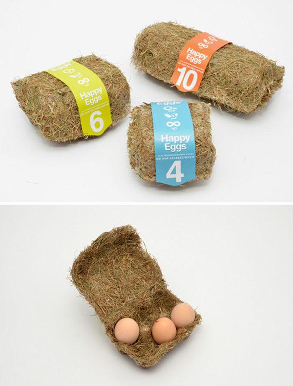 Упаковка яиц из сена