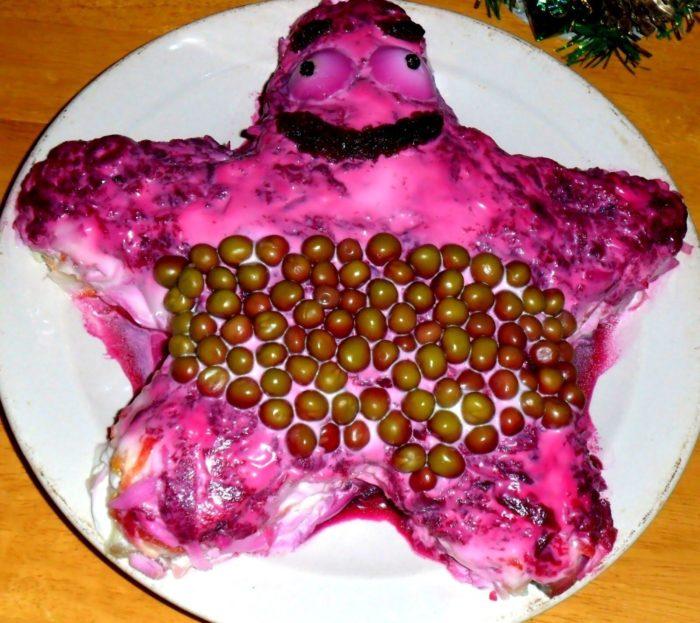 Селедка под шубой в форме Морской звезды Патрика