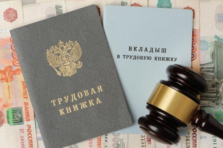 Трудовая книжка, рубли, судейский молоток