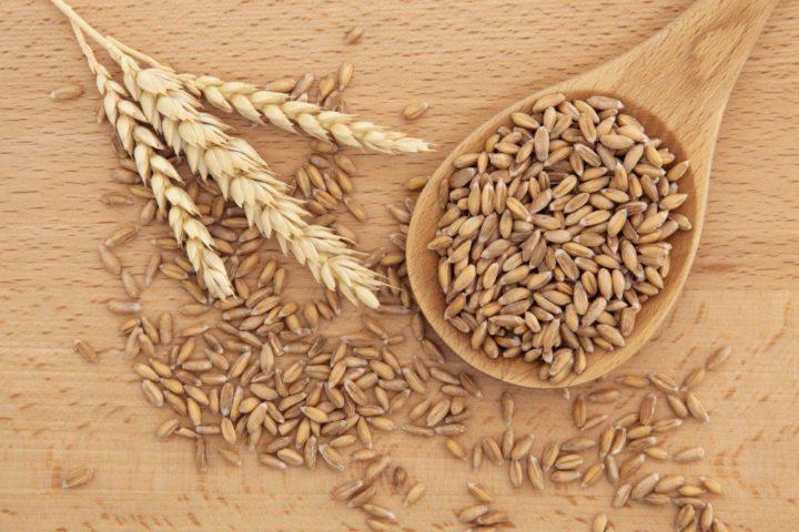 Колосок, пшеница на столе и в деревянной ложке