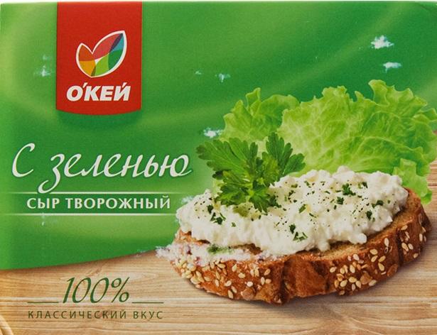 """Сыр творожный """"О`кей"""" с зеленью"""