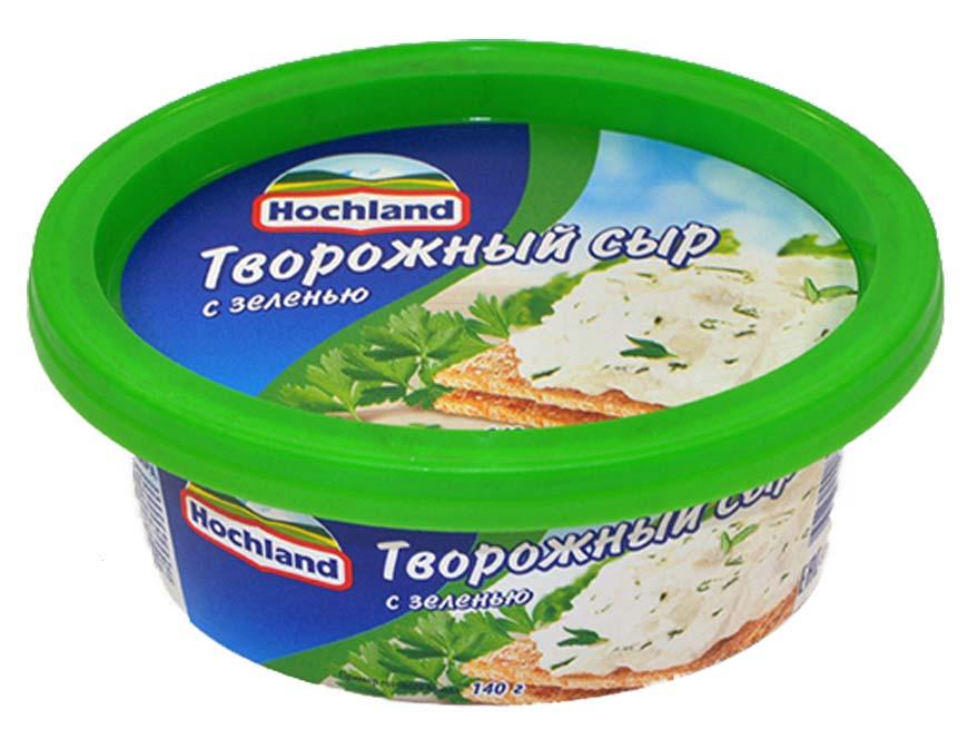 Сыр Hochland с зеленью в круглой упаковке