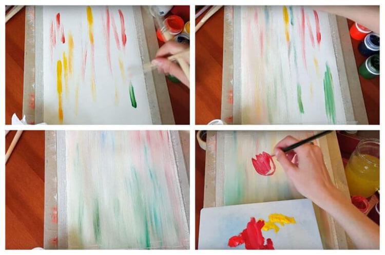 Пошаговое рисование тюльпанов красками