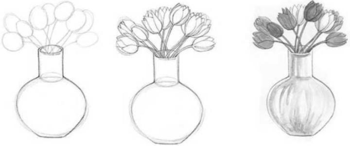 Пошаговое рисование тюльпанов в вазе