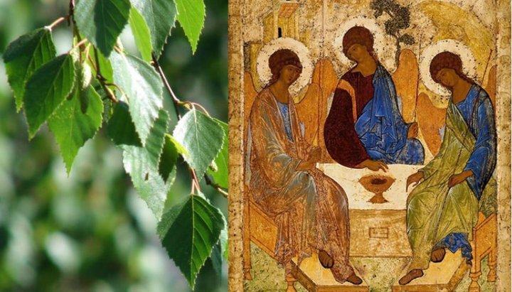 Береза и икона святой Троицы