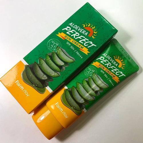 Солнцезащитный крем в тубе и в упаковке FarmStay – Aloe Vera