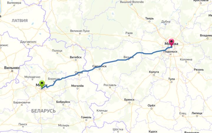 Маршрут Москва-Минск на карте автомобильных дорог