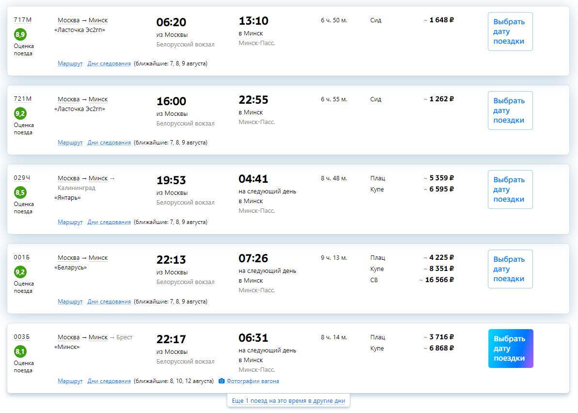 Расписание поездов из Москвы в Минск
